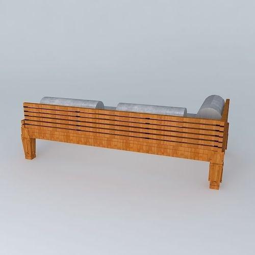 Wooden Sofa 3d Model Max Obj 3ds Fbx Stl Dae
