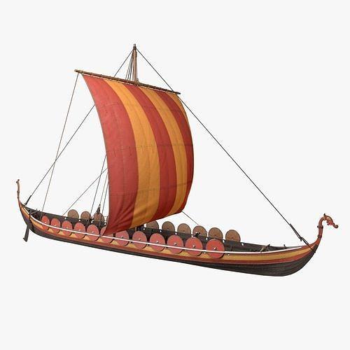 viking longship 3d model obj mtl fbx blend tga pdf 1