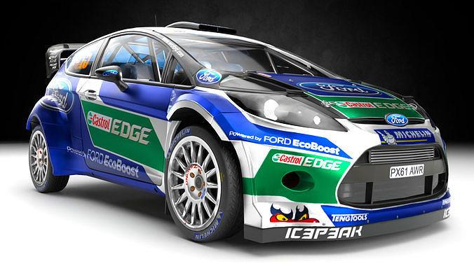 ford fiesta rs wrc racing sports rally car 3d model obj mtl 3ds fbx blend 1