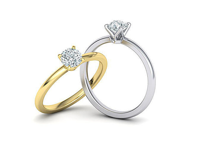 Elegant solitaire ring with 5mm stone claw  setting 3dmodel