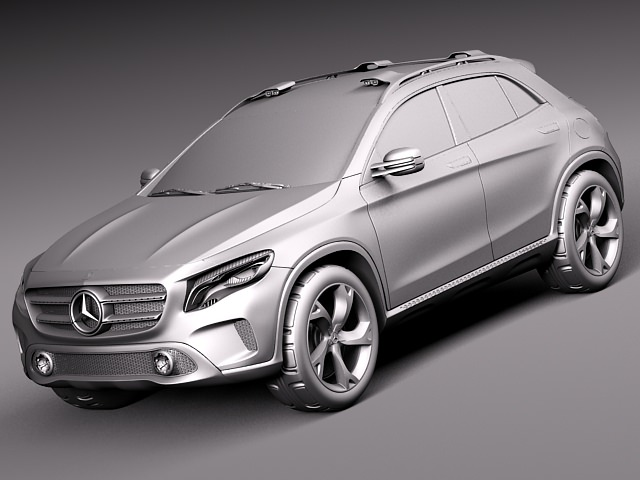 Mercedes benz gla concept 2013 3d model max obj 3ds for Mercedes benz suv models 2013