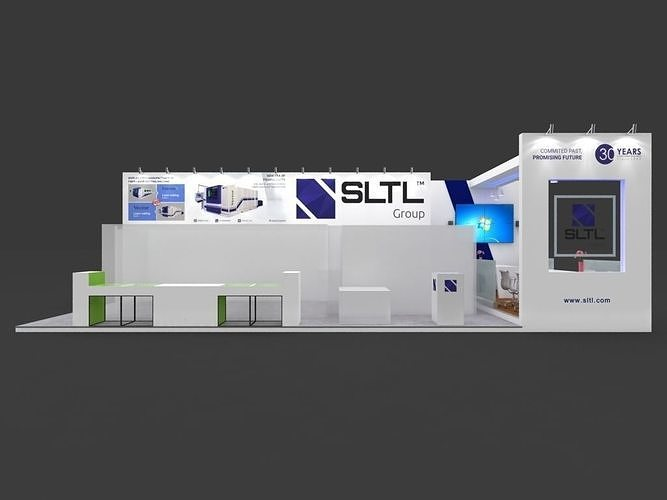 exhibition stall 3d model 12x6mtr 3sides open sltl booth 3d model max 1