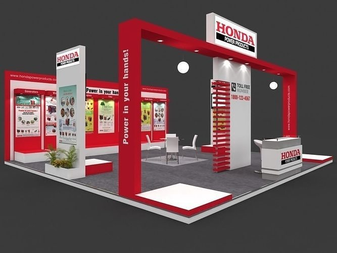 exhibition stall 3d model 8x8 mtr 3sides open honda power booth 3d model max 1