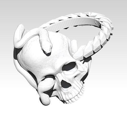 snake ring with skull 3d model obj mtl stl 1