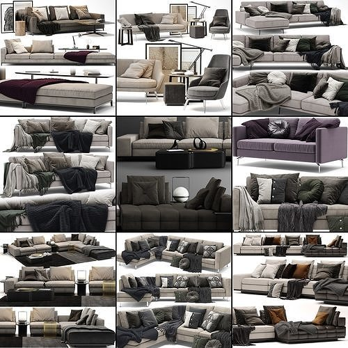 sofa collection 02 - 10 items 3d model max obj mtl 3ds fbx dxf mat 1