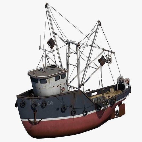 fishing boat 2 3d model max obj mtl 1