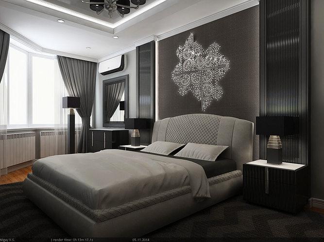 interior scene - flat 02 - 2 bedrooms 3d model max obj mtl 1