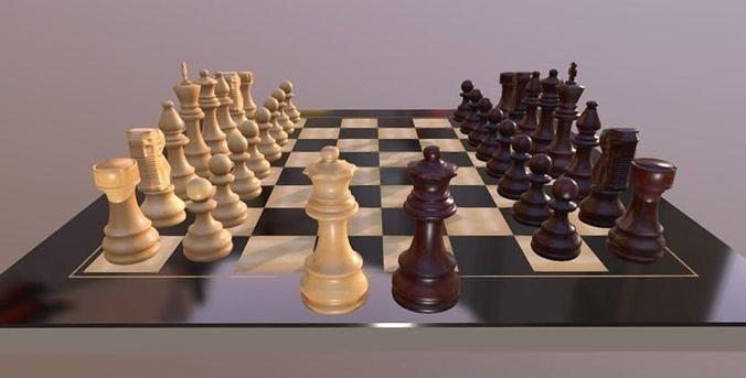 chess board 3d model obj mtl fbx stl blend mat 1