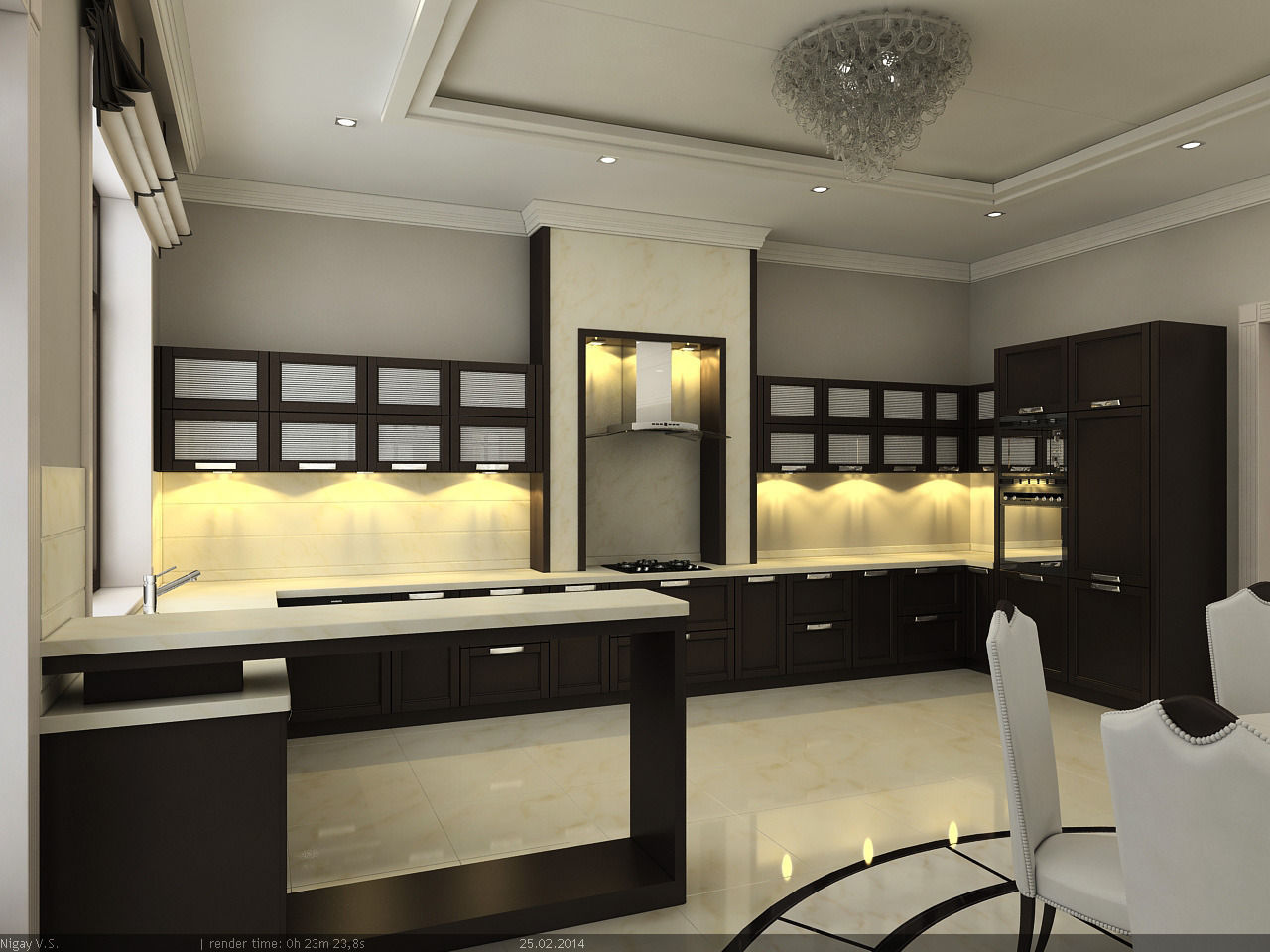 Interior scene project 3 kitchen dinni 3d model max for Dining room 3d max interior scenes