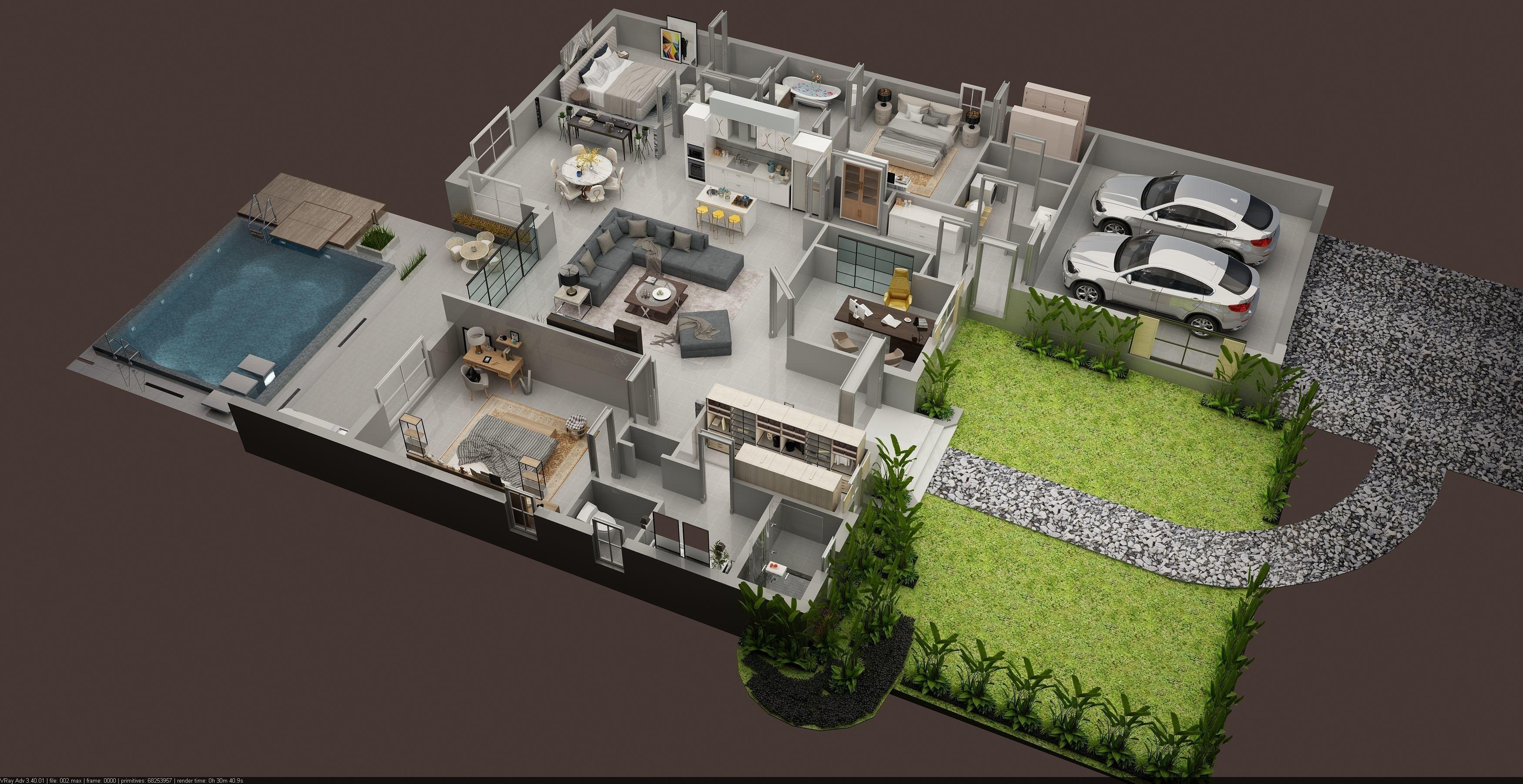 Luxury 3d Floor plan of residential House 3D model MAX