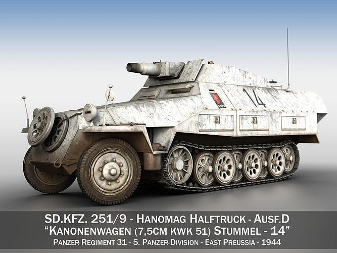 sdkfz 251 - ausf d - stummel - 14 3d model obj mtl 3ds fbx c4d lwo lw lws 1