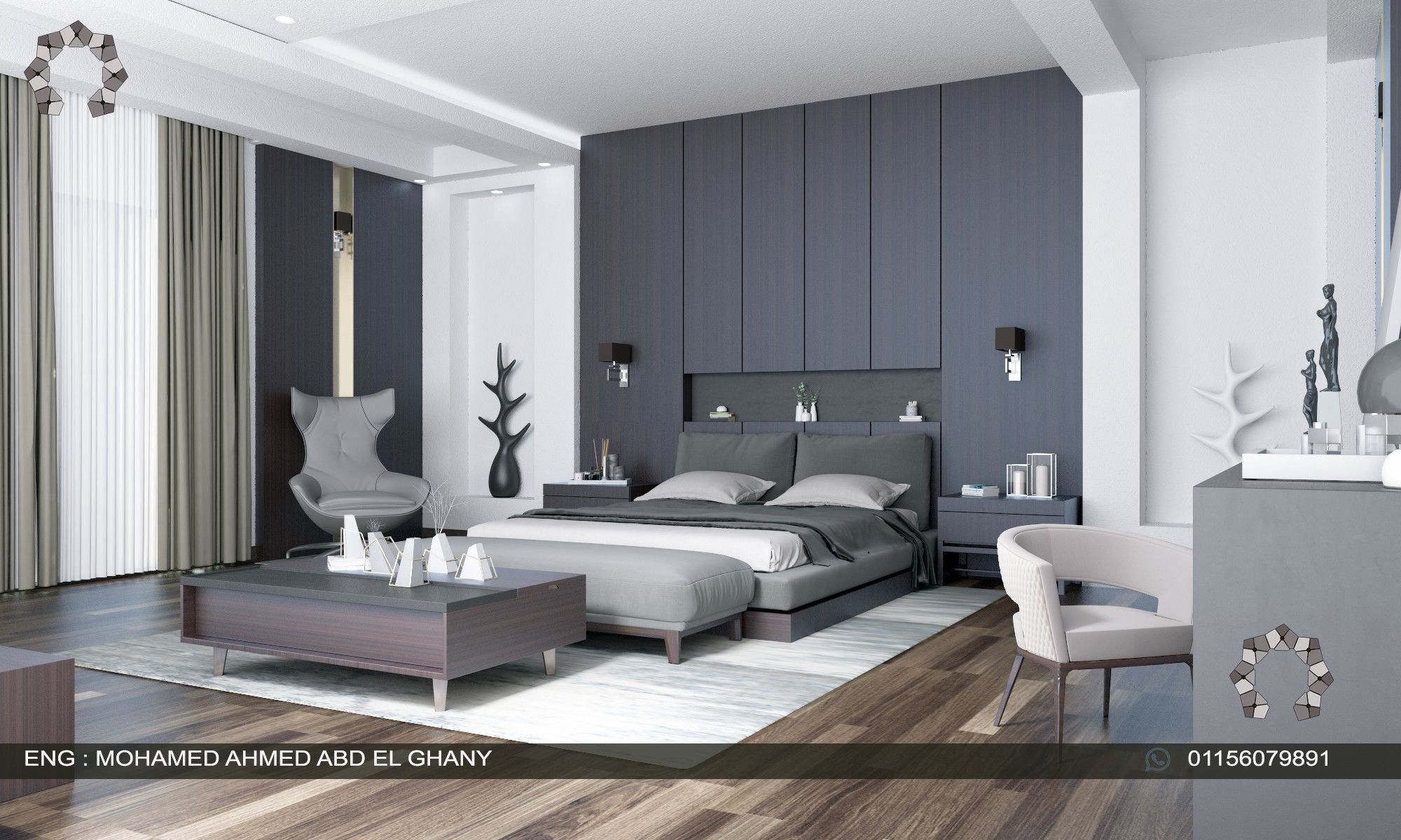 modern master bedroom interior | 3D model