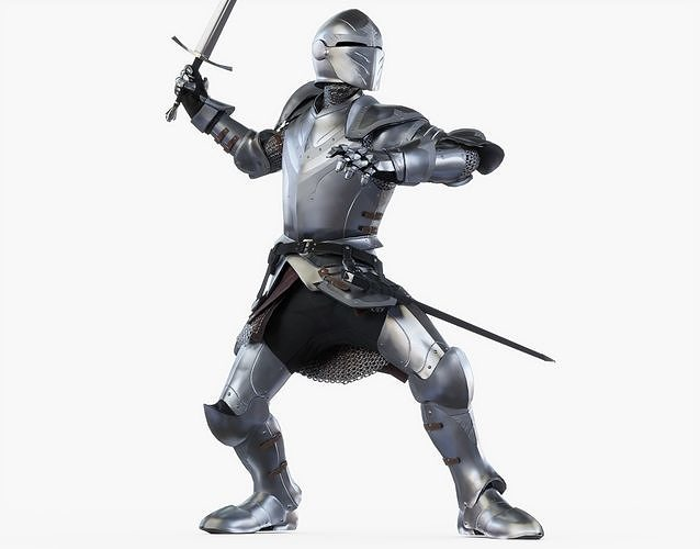 knight attack posed 3d model obj mtl 3ds fbx stl blend dae 1