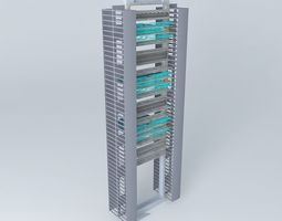 19 inch rack with 3 x cisco 2960 48 port switches 3d