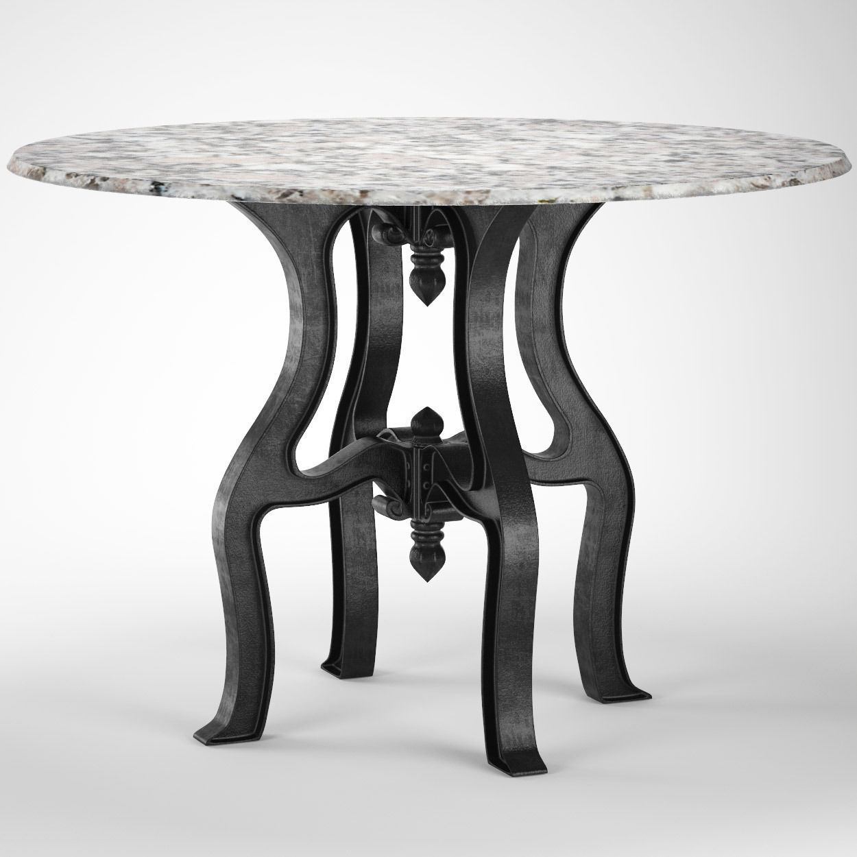 French Industrial White Marble Top Round Dining Table 3d
