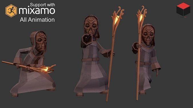 priest character 3d model low-poly rigged animated obj mtl fbx dae 1
