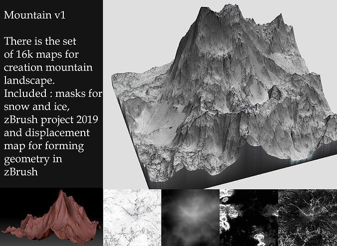 the set of tools for creation mountain 3d model ztl 1
