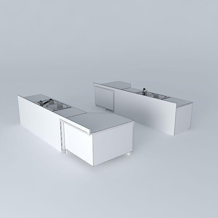 Kitchen Sink with Built in Dishwasher (lef... 3D Model MAX OBJ 3DS FBX ...