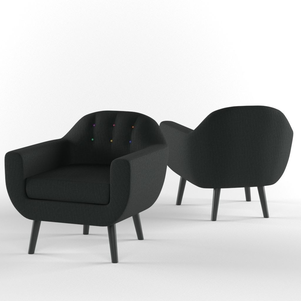 3d Classic Armchair With Rainbow Buttons By Made