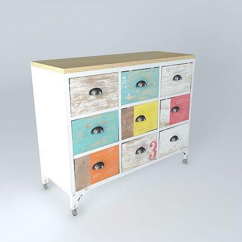 cabinet ipanema maisons du monde 3d model max obj 3ds fbx stl dae. Black Bedroom Furniture Sets. Home Design Ideas