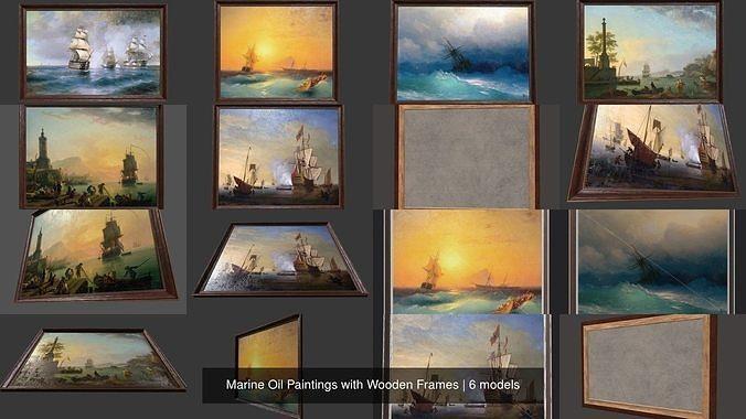 marine oil paintings with wooden frames 3d model obj mtl 3ds fbx c4d ma mb 1