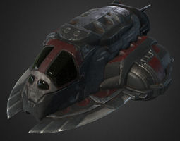 lowpoly pirate spaceship 3d asset VR / AR ready PBR