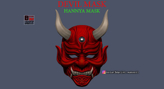 devil mask-hannya mask-samurai mask-satan mask  for cosplay 3d model stl 1