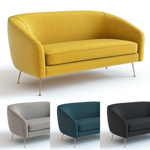 Awe Inspiring West Elm Stella Loveseat 3D Model Machost Co Dining Chair Design Ideas Machostcouk