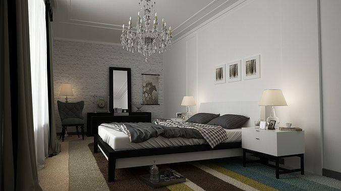 3d model white bedroom cgtrader 18947 | white bedroom 3d model animated max