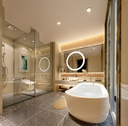 Luxurious bath room 3d model cgtrader for New model bathroom