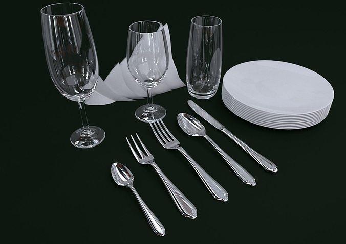 cutlery set1 3d model max obj mtl 3ds fbx 1