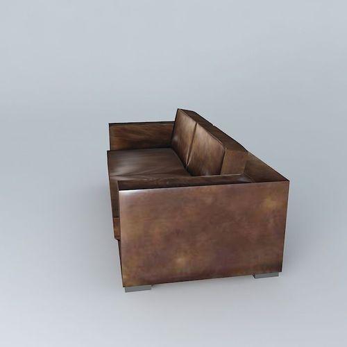 berlin aged brown leather sofa 3d model max obj 3ds. Black Bedroom Furniture Sets. Home Design Ideas