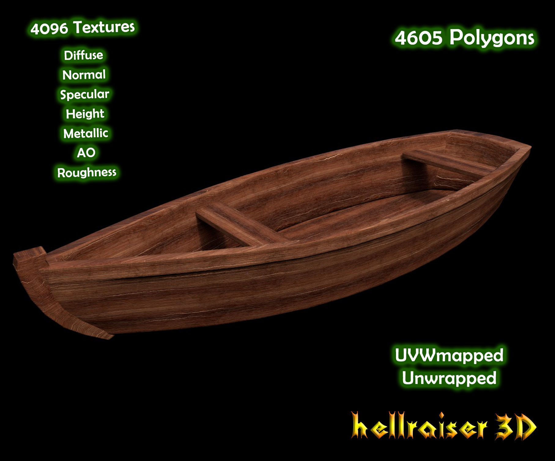 Rowing Boat - PBR - Textured