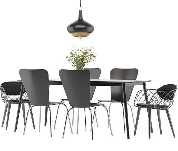 dining furnitures set 36 3d model max obj mtl 3ds fbx 1