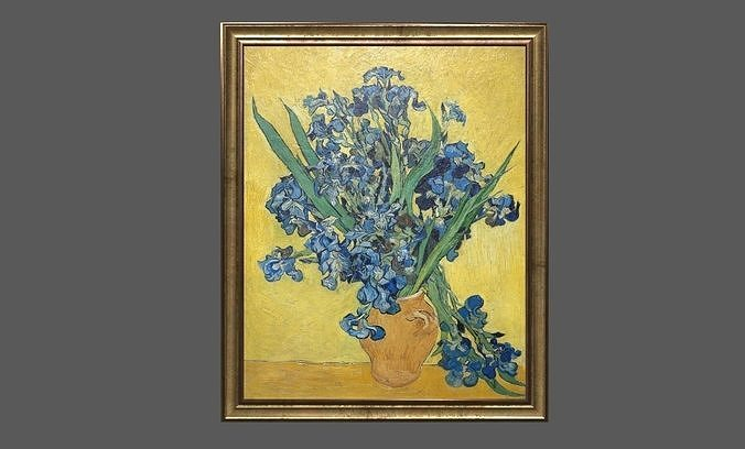 bronze frame with stretcher and van gogh oil painting irises 3d model obj mtl 3ds fbx c4d ma mb dae 1