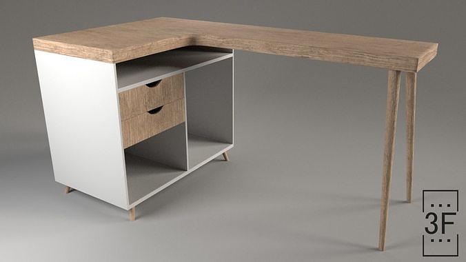 modern desk 3d model obj mtl fbx ma mb stl 1
