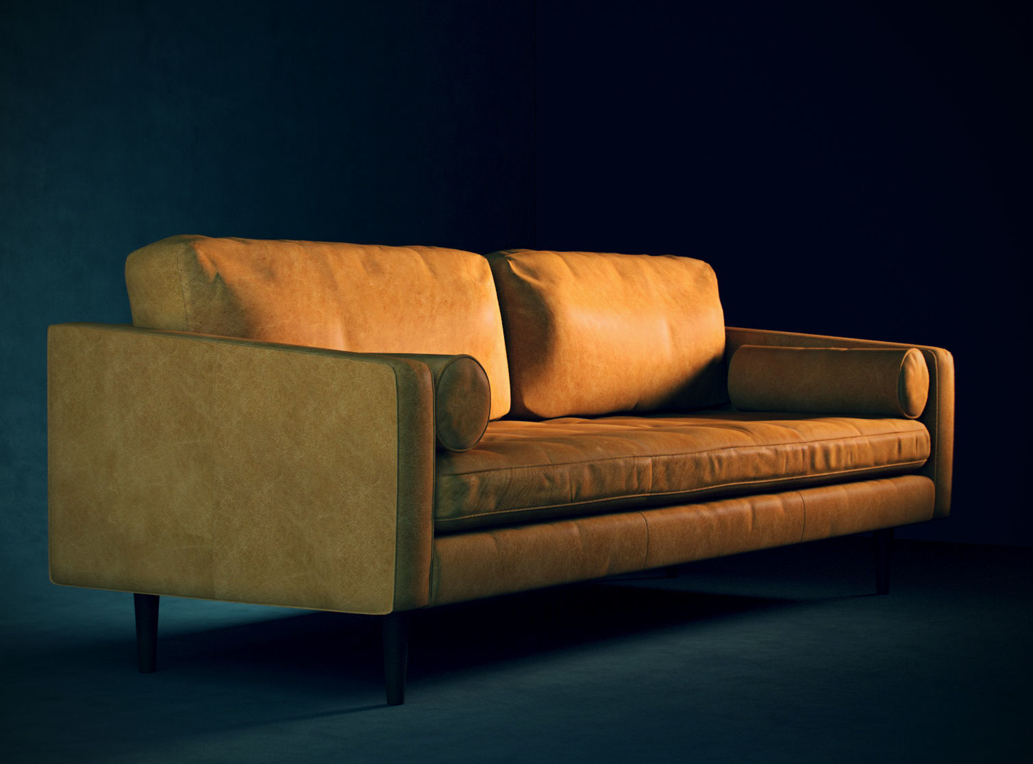 Leather Mid Century Modern Sofa 3d Model