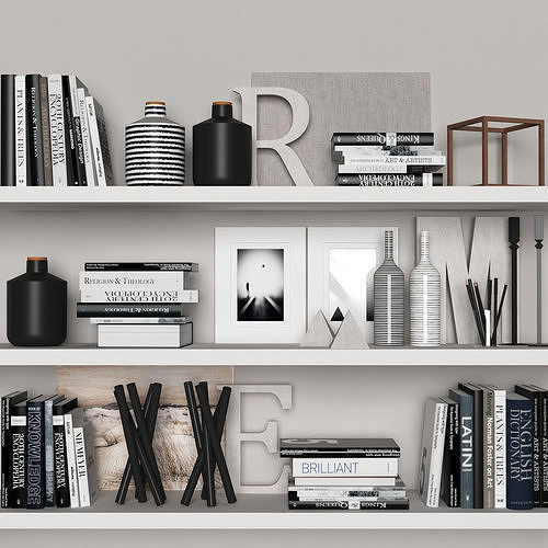 3d Decorative Set With Books And Vases Cgtrader