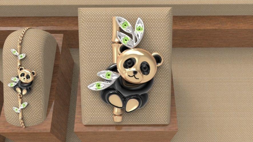 Baby panda brooch
