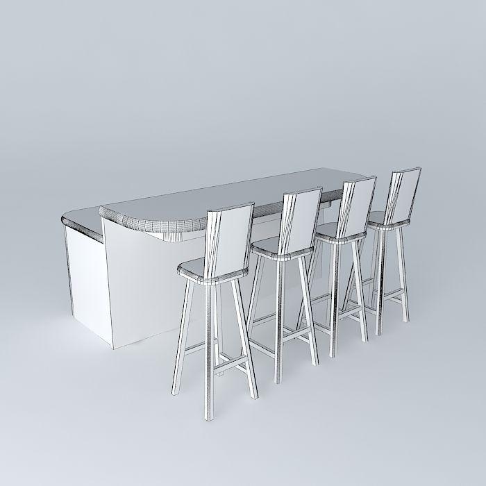 Free Standing Breakfast Bar Model Max Obj Mtl S Fbx Stl Dae 4