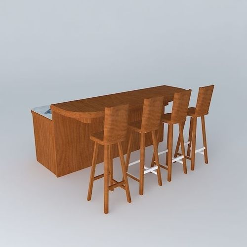 Free Standing Breakfast Bar 3d Model Max Obj 3ds Fbx