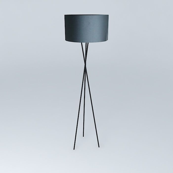 tripod floor lamp black houses of the world 3d model max obj 3ds. Black Bedroom Furniture Sets. Home Design Ideas