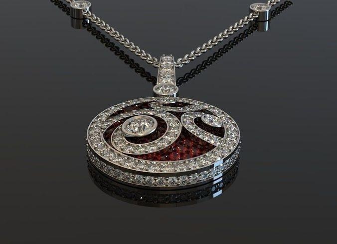 graff   diamond on  diamond pendant 3d model stl 3dm 1