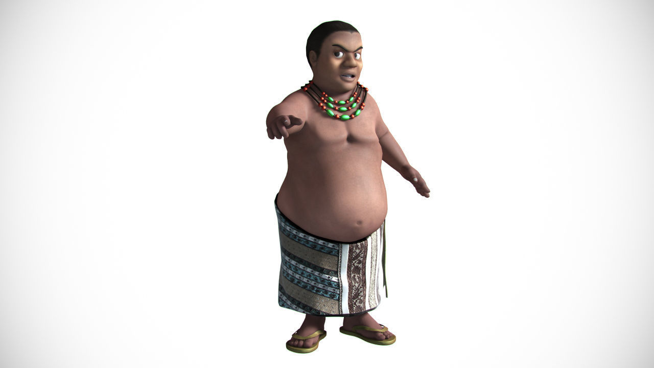3D Fat african cartoon
