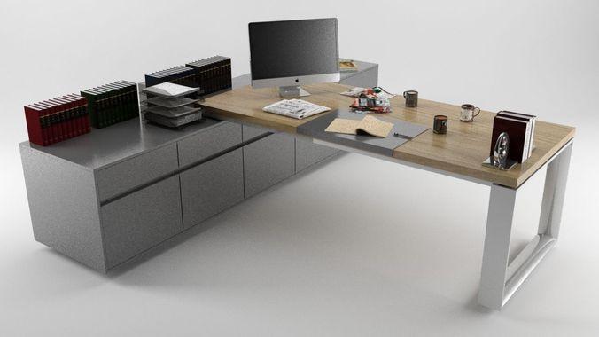 Office desk high quality 3d model game ready max obj 3ds fbx mtl - Quality office desk ...