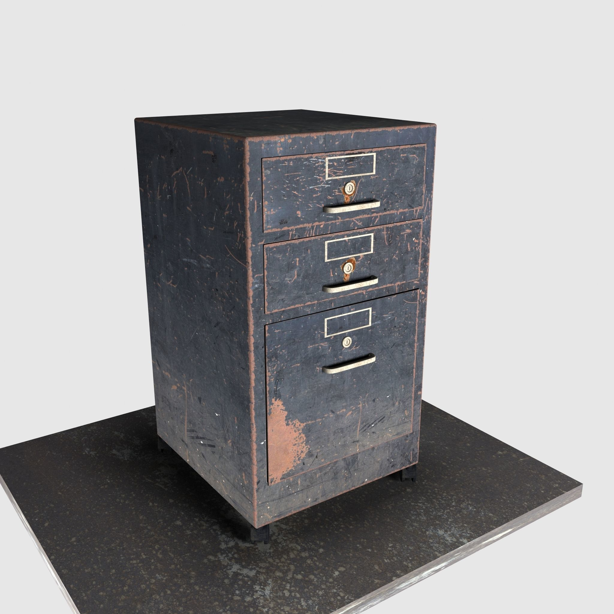 Painted Worn Metal Office Cabinet  30D model