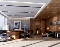 Modern working room 3D