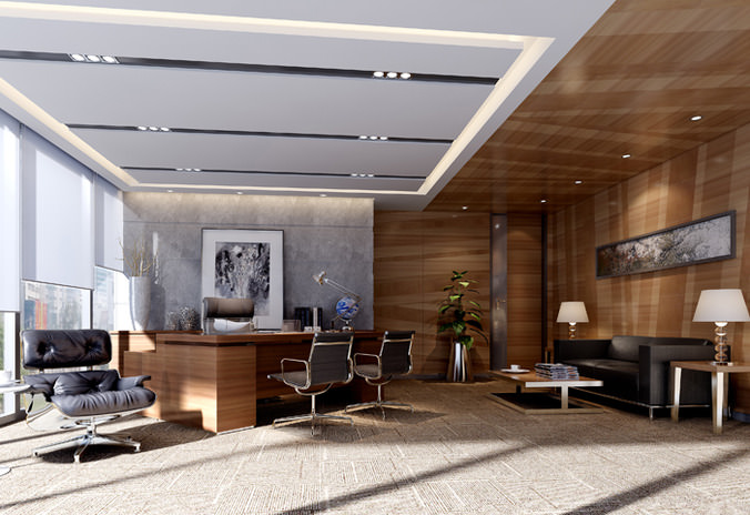 Modern working room 3d cgtrader for Office design 3d mac