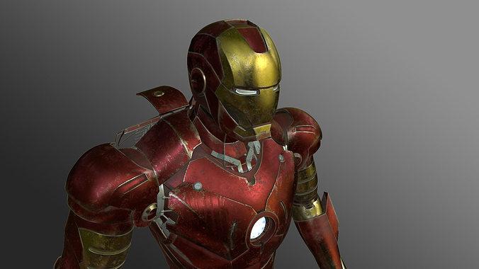 iron man 3d model rigged max stl tga 1