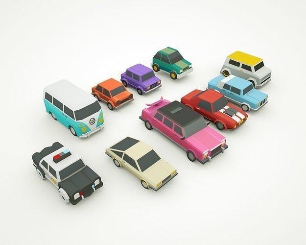 simple poly cars - 10 models - city town cars  3d model max obj mtl 3ds fbx c4d ma mb 1